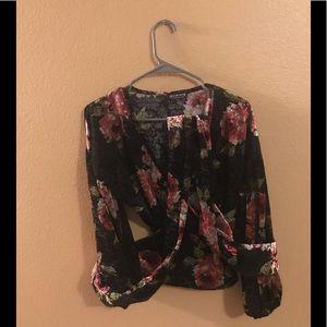Velvet, Ruffled Sleeved Blouse